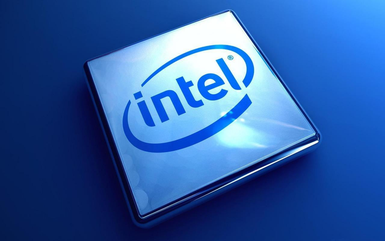 Intel CPU on Blue Background